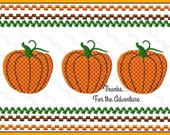 Autumn Fall Pumpkins Faux Smocking Digital Embroidery Machine Design File 4x4 5x7 6x10
