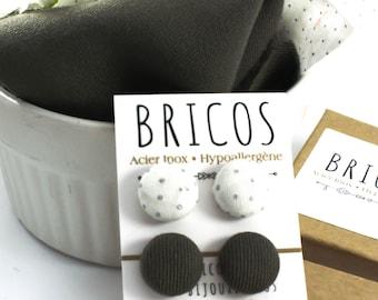 BOUTONS TISSU - Boucles d'Oreilles - Studs Acier Inoxydable - Tissu Récupéré - Cabochons Tissu -  Boutons d'Oreilles - Puces d'Oreilles Vert