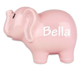 Pink Ceramic Elephant Bank - Personalized Ceramic Piggy Bank Elephant Nursery Baby Shower Gift Elephants Room Decor for Girl Banks ELEP-pin