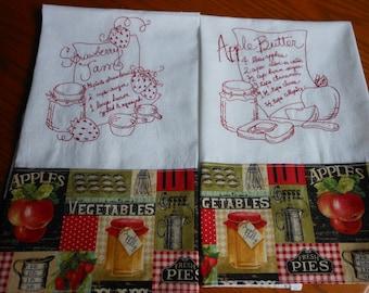 Jam Preserves Kitchen Towels Set Embroidery