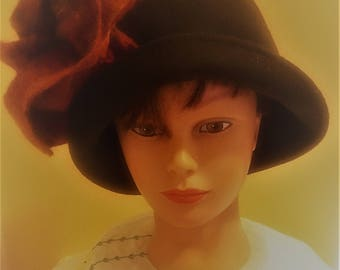 upcycled vintage felted wool hat