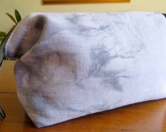 Cosmetic Bag, Toiletry Bag, Craft or Hobby Bag, Small Retreat Bag. Hand Dyed Purple and Charcoal Grey Linen Outer, Purple Cotton Lining