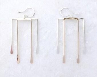 Deco Brass Hawk Earrings, Architectural Jewelry, Hammered Brass, Hammered Geometric Earrings, Minimalist Square Earrings, Rectangle Earrings