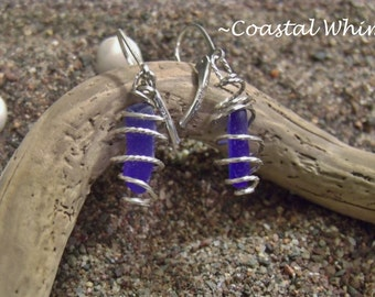 Genuine Maine Cobalt Blue Sea Glass Caged in Twisted Sterling Silver with Sterling Silver Euro Style Lever Earrings