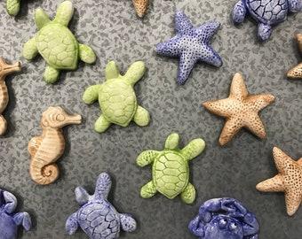 Ceramic Refrigerator Magnets. Beach Decor Sea Turtle. Crab. Starfish. Seahorse. Magnets. By Sara Hunter