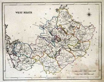 County West Meath 1846 - Antique Irish Map of West Meath (Westmeath) - 8 x 10 ins PRINT - FREE P&P UK