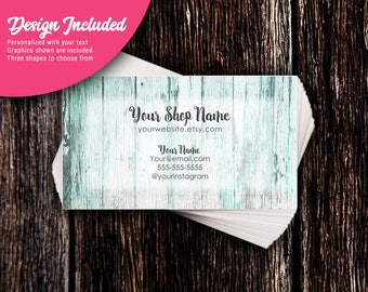 Business Cards - Custom Business Cards - Personalized Business Cards - Mommy Calling Cards - Teal Wood