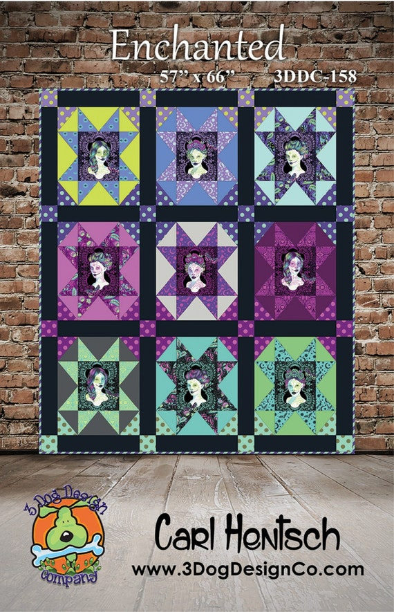 ENCHANTED Quilt Pattern by Carl Hentsch using Tula Pink's next collection De La Luna July 2018