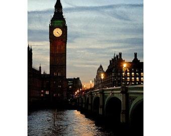 London Photography, Big Ben Print, Fine Art Photography, London Photography, London at Dusk Print, Wall Art London Print,London Vintage Look