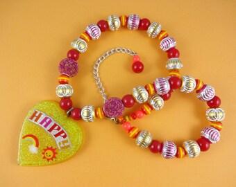 Big Yellow Glitter Resin Heart Necklace - happy pendant, glittery heart, yellow and red, resin pendant, Harajuku Decora, rainbow sunshine