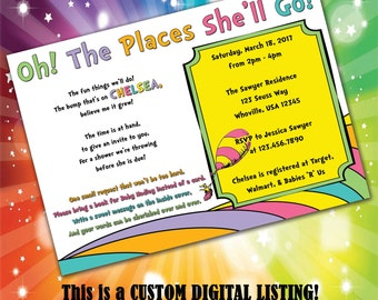 Oh the Places She'll Go Baby Shower Invitation, DIGITAL