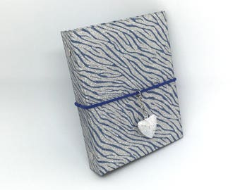 SILVER and blue, pocket DIARY, filofax, kikkik, A7, small