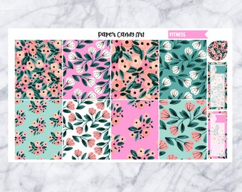 Fitness // Floral Full Boxes Planner Stickers