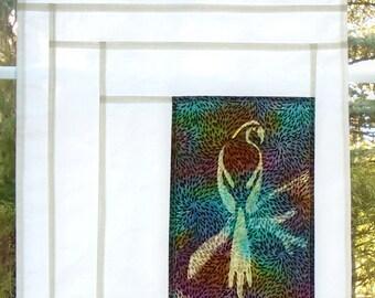 African Gray ~ Bleached Art Stained Glass Look Pojagi Batik Window Treatment / bohemian cafe curtain / boho boudoir / hippie curtain