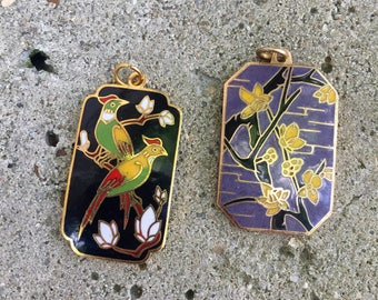 Cloisonné Birds and Flowers Charms