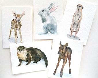 Woodland Animal Watercolor Painting Greeting Card Set - 5 x 7 Cards - Nursery Animals Card Prints