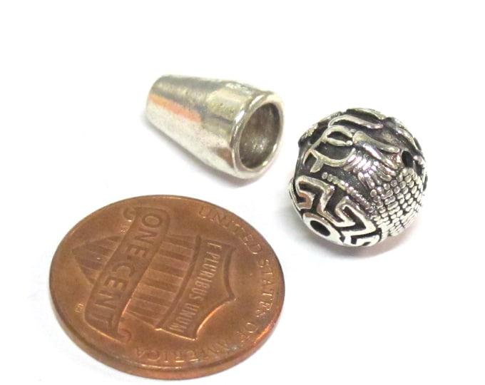 1 Guru bead  - Tibetan silver 3 hole Guru Bead dragon design 11 - 12 mm size with column bead - GB066