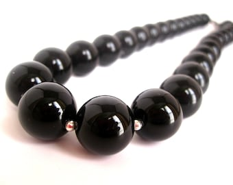 Black Onyx Necklace 14mm Onyx Round Beaded Sterling Silver, Chunky Black Bead Necklace, Black Onyx Jewelry, Black Beaded Necklace