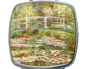 Artist Claude's Bridge Over a Pond of Water Lilies Painting - Compact Square Face/Makeup Mirror