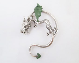 Dark green prince dragon ear cuff earring -gothic dragon jewelry