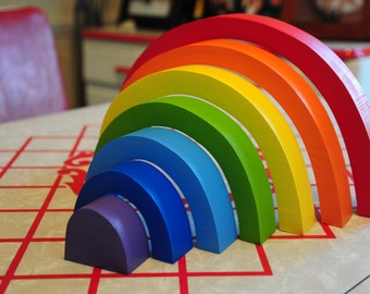 Large Rainbow Stacker, Wooden Toy / Waldorf  Montessori Puzzle Toys