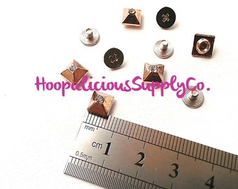 7mm GOLD Square Metal Screw Back Studs with Rhinestone Center- 5 tops & 5 Screw Backs