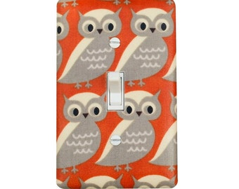 Owl Light Switch Plate Cover / Burnt Orange Cream Tan Nursery Decor / Gender Neutral Kids Girls Boys Room / Slightly Smitten Kitten