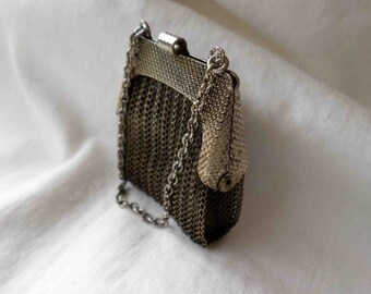 Vintage Fifties Miniature Metal Mesh Coin Purse / Mid Century Miniatures Collectibles