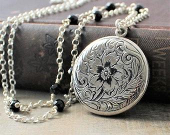 Large Round Locket, Enamel Locket, Antique Locket, Sterling Silver Locket Necklace, Silver Photo Locket, Unique Locket, Push Present