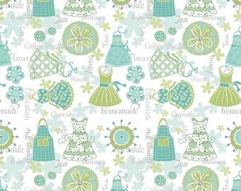 "Retro Apron Fabric, 32"" x 44"", Quilt Fabric, Turquoise Apron Strings, 1438B84, Contempo Studio, Kitchen Love by Cherry Guidry , Retro"
