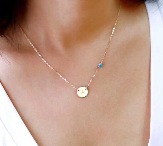 Gold Monogram Necklace And Small Gemstone Bead Personalized
