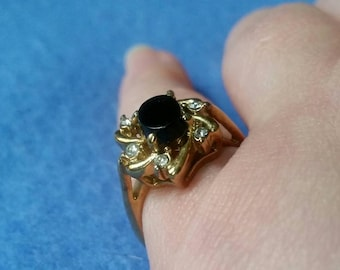 Vintage Faux Onyx and Rhinestone Ring, gold tone ring with oval onyx stone and six rhinestones, size 6.75 vintage ring