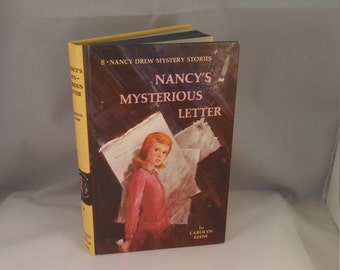 Nancy's Mysterious Letter, Nancy Drew mystery book, Carolyn Keene Nancy Drew hardback mystery Vintage Nancy Drew, yellow book