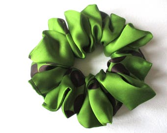 green black polka dots satin hair scrunchie, accessory for women girl, handmade gift for her, big hair wrap, 80s 90s disco