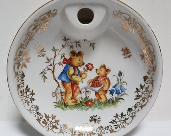 French Paris 2 Porcelain Child's Warming Dinner Dish. 1960s Baby Dinner Plate. Teddy Bear Image.