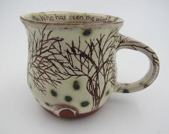 Slipware Mug, Handmade Mug, Trees Mug, Sgraffito Mug