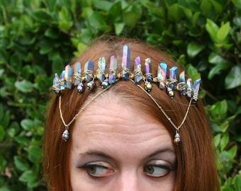 Golden Goddess, rainbow aura quartz crystal crown, gold crystal headpiece, raw quartz crown, crystal headpiece, mermaid crown, quartz tiara