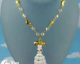 Rüschen Kuchen Hase 3   Halskette   Sweet Lolita Mode   Kawaii Häschen   Rose