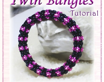 Bangle Tutorial: Twin Bangle - Beaded Tubular  Bracelet - DIGITAL DOWNLOAD PDF