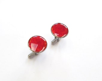 Large Red Cuff Links, Round Upcycled Glass Cuff Links, Men's Cuff links, Glass, Recycled, Gift, Stained Glass, New Orleans, Circle, Ruby Red