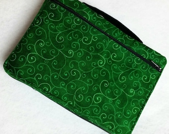 Bible Cover Emerald Green with Swirls Your Book Measurements Required