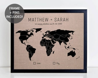 World travel map etsy couples gift world pushpin map world travel map wedding gift linen anniversary gumiabroncs Images
