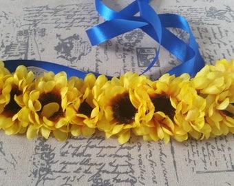 Sun Flower Headband, Wedding Headband, Flower Girl, Sunflower Crown