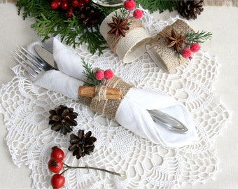 Christmas Napkin Ring, Winter Napkin Ring, Christmas table decor, Christmas decor, Burlap Christmas Napkin Ring, Rustic christmas