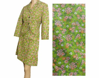 Vintage Mod 1960s Skirt Suit Sears Lime Green Floral Print Suit A Line Skirt and Blazer Cotton Flower Power