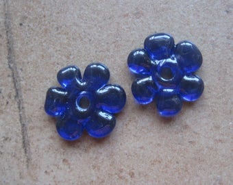 Lampwork Beads - SueBeads - Disc Beads - Disc Flowers - Violet (Purple Blue) Cut Disc Flower Bead Pair - Handmade Lampwork Beads - SRA M67