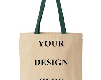 Custom Totes - Gift Bags - Promotional Totes - Wedding Favors - Colored Handles - Green