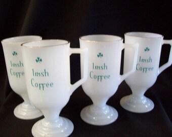 Mid-Century Irish Coffee Pedestal Mugs - Set of 4