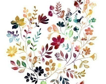 """Watercolor Illustration Painting Print of birds and flowers title """"Wild Garden (kaleidoscopic)"""""""