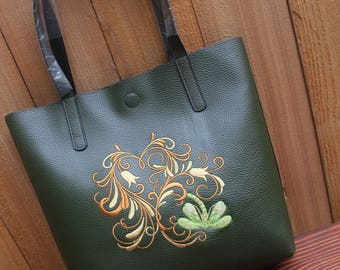 Green Dragonfly Heart Tote Bag Purse